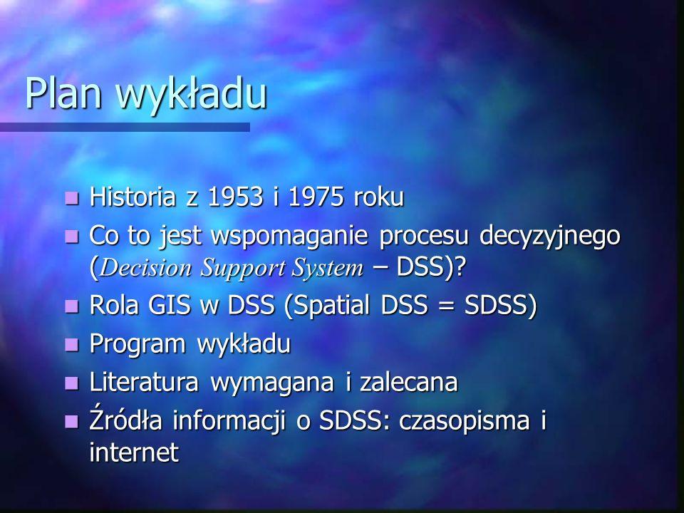 Plan wykładu Historia z 1953 i 1975 roku Historia z 1953 i 1975 roku Co to jest wspomaganie procesu decyzyjnego ( Decision Support System – DSS)? Co t