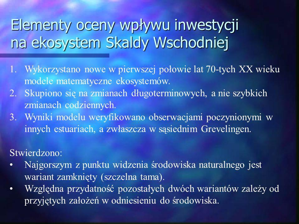 Elementy oceny wpływu inwestycji na ekosystem Skaldy Wschodniej 1.Wykorzystano nowe w pierwszej połowie lat 70-tych XX wieku modele matematyczne ekosy
