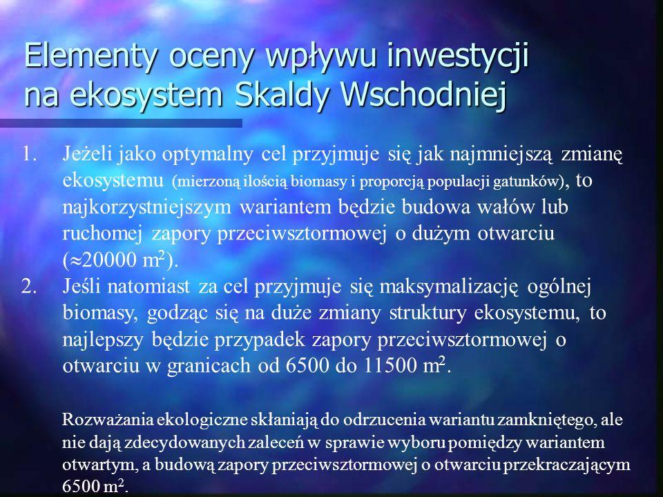 Elementy oceny wpływu inwestycji na ekosystem Skaldy Wschodniej 1.Jeżeli jako optymalny cel przyjmuje się jak najmniejszą zmianę ekosystemu (mierzoną