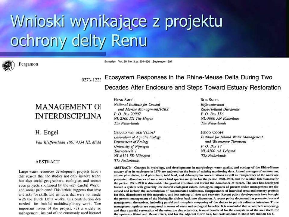 Wnioski wynikające z projektu ochrony delty Renu
