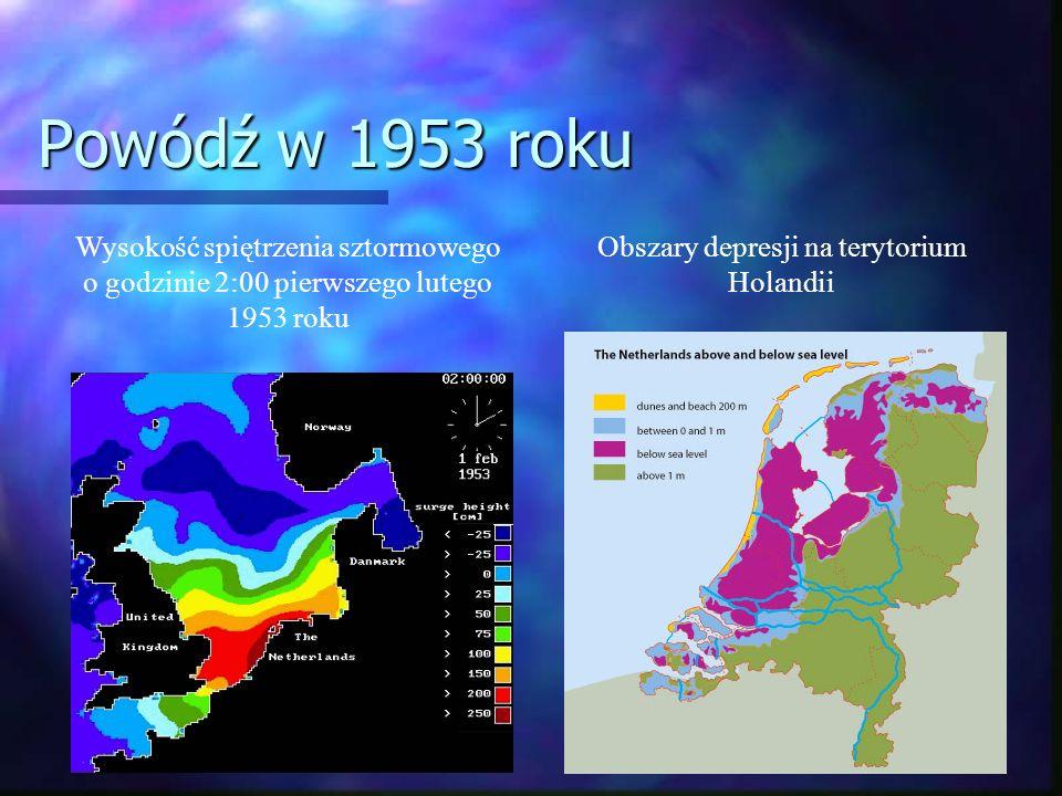 Powódź w 1953 roku Wysokość spiętrzenia sztormowego o godzinie 2:00 pierwszego lutego 1953 roku Obszary depresji na terytorium Holandii