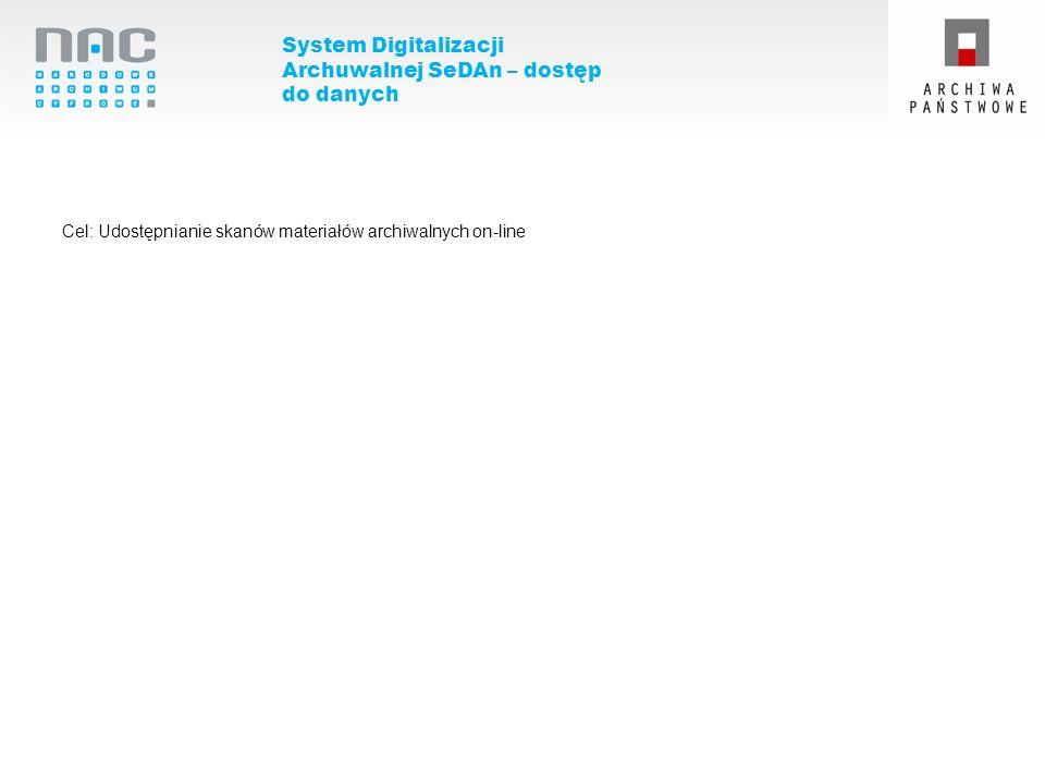 System Digitalizacji Archuwalnej SeDAn – dostęp do danych Cel: Udostępnianie skanów materiałów archiwalnych on-line