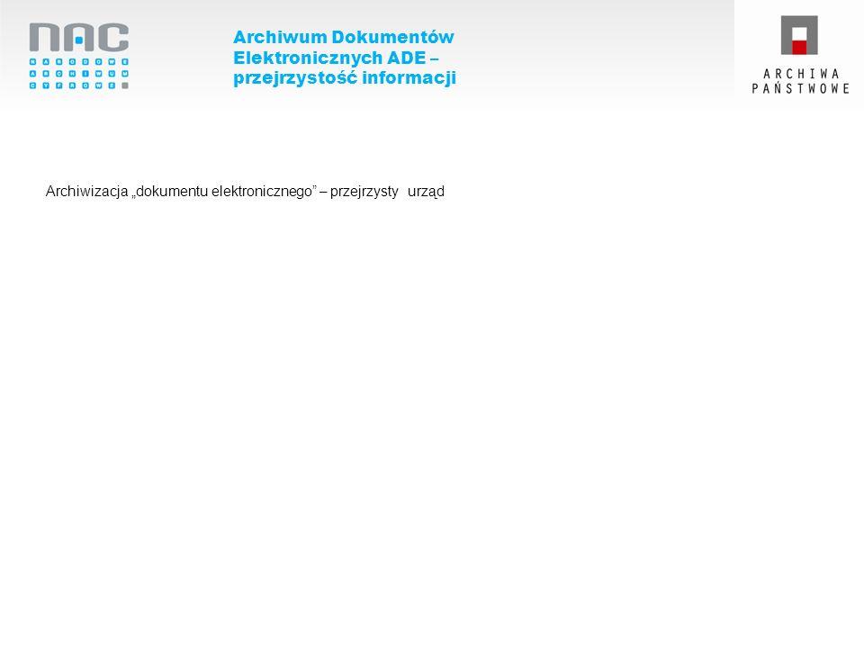 Archiwum Dokumentów Elektronicznych ADE – przejrzystość informacji Archiwizacja dokumentu elektronicznego – przejrzysty urząd