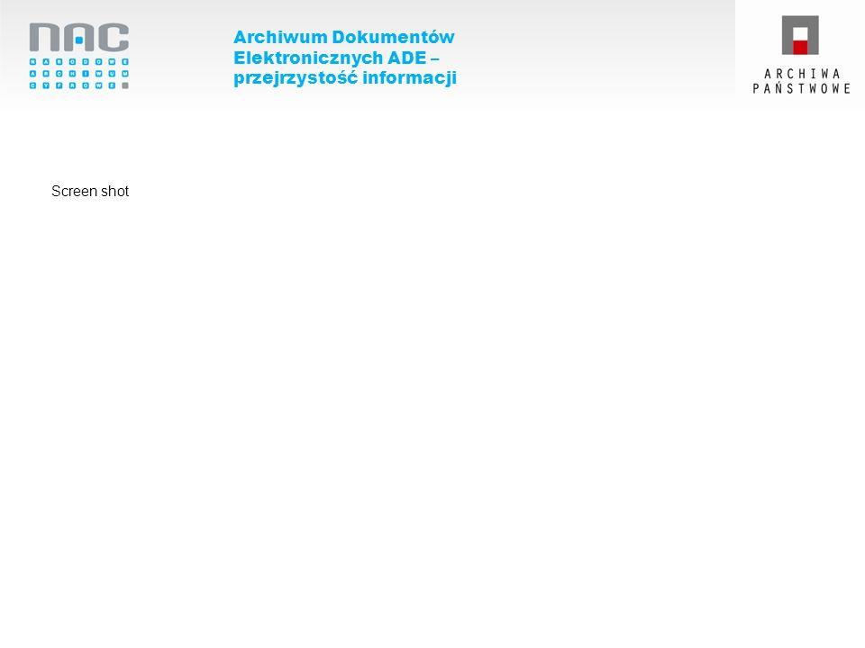 Archiwum Dokumentów Elektronicznych ADE – przejrzystość informacji Screen shot