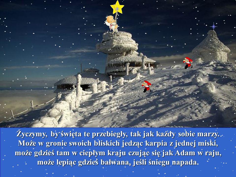Życzymy, by święta te przebiegły, tak jak każdy sobie marzy. Może w gronie swoich bliskich jedząc karpia z jednej miski, może gdzieś tam w ciepłym kra