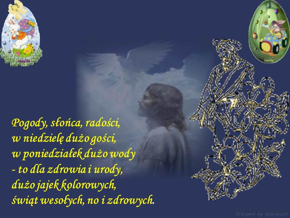 Na stole święcone, a obok baranek, Koszyczek pełny barwnych pisanek I tak znamienne w polskim krajobrazie W bukiecie srebrzyste, wiosenne bazie. Zielo