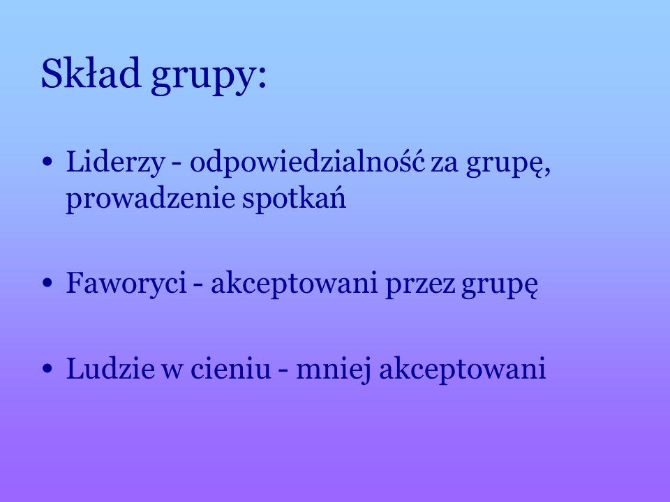 Skład grupy: Liderzy - odpowiedzialność za grupę, prowadzenie spotkań Faworyci - akceptowani przez grupę Ludzie w cieniu - mniej akceptowani