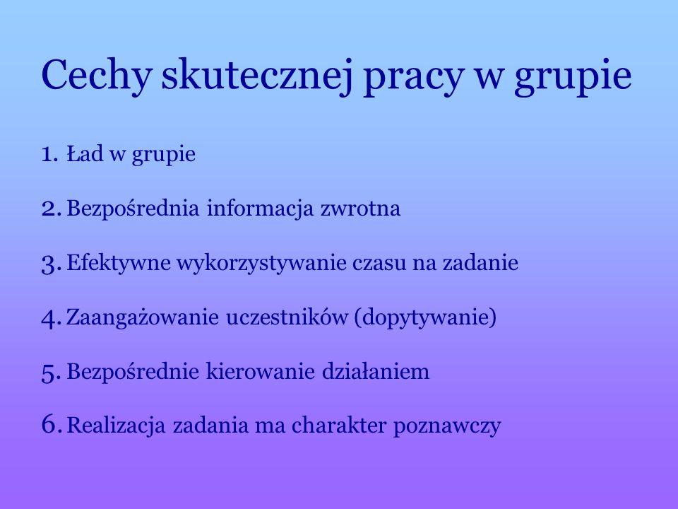 Cechy skutecznej pracy w grupie 1. 1. Ład w grupie 2.