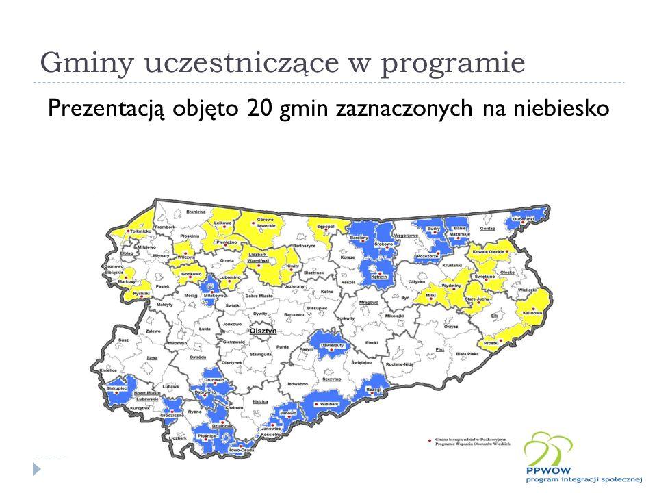 Gminy uczestniczące w programie Prezentacją objęto 20 gmin zaznaczonych na niebiesko