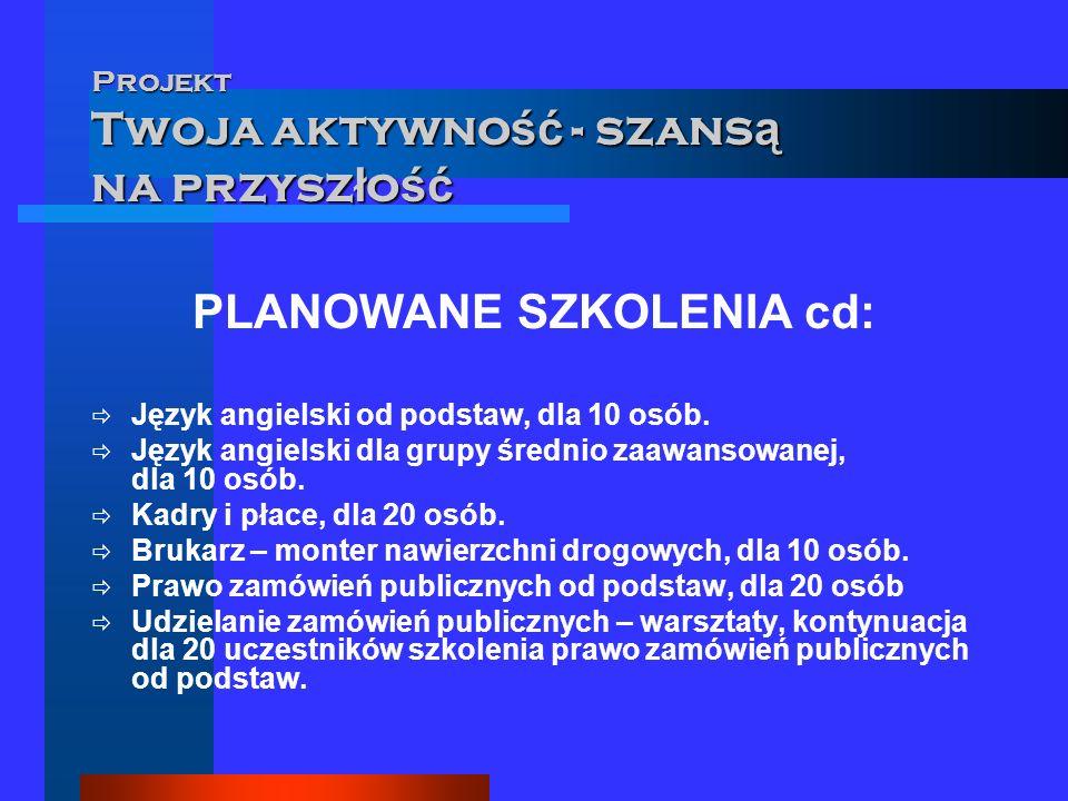 Projekt Twoja aktywno ść - szans ą na przysz ł o ść PLANOWANE TERMINY SZKOLEŃ III – IV KWARTAŁ 2006