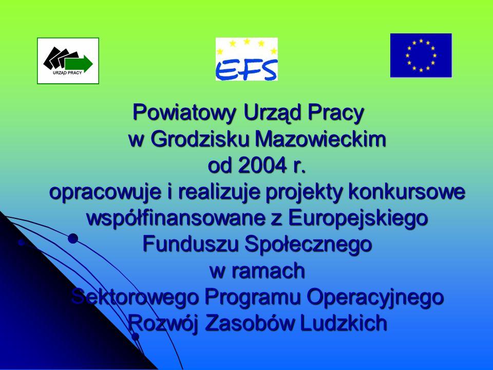 Powiatowy Urząd Pracy w Grodzisku Mazowieckim od 2004 r. opracowuje i realizuje projekty konkursowe współfinansowane z Europejskiego Funduszu Społeczn