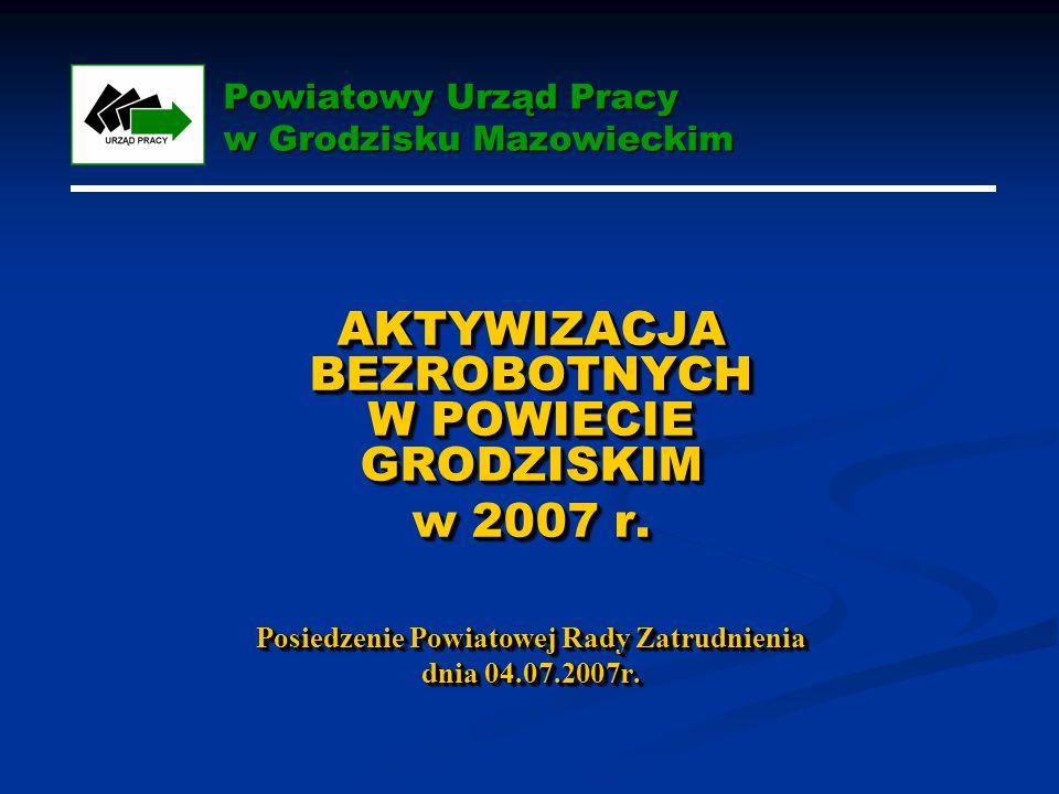 Powiatowy Urząd Pracy w Grodzisku Mazowieckim AKTYWIZACJA BEZROBOTNYCH W POWIECIE GRODZISKIM w 2007 r.