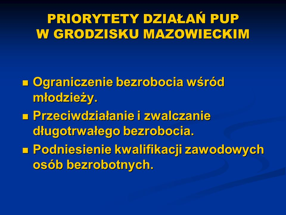 PRIORYTETY DZIAŁAŃ PUP W GRODZISKU MAZOWIECKIM Ograniczenie bezrobocia wśród młodzieży.
