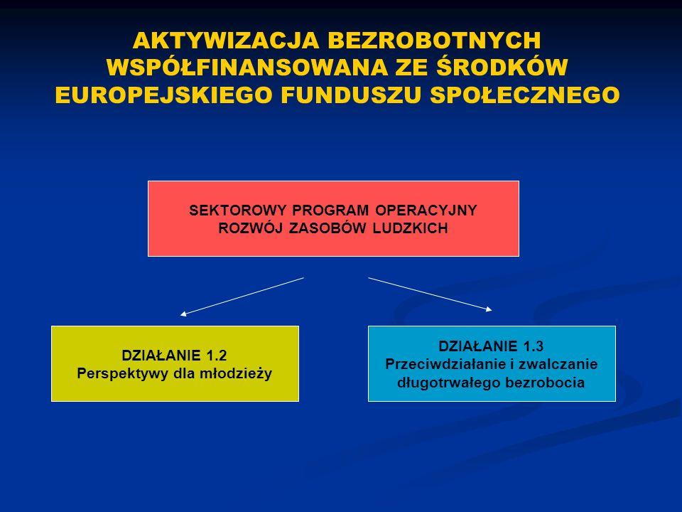 SEKTOROWY PROGRAM OPERACYJNY ROZWÓJ ZASOBÓW LUDZKICH DZIAŁANIE 1.2 Perspektywy dla młodzieży DZIAŁANIE 1.3 Przeciwdziałanie i zwalczanie długotrwałego bezrobocia AKTYWIZACJA BEZROBOTNYCH WSPÓŁFINANSOWANA ZE ŚRODKÓW EUROPEJSKIEGO FUNDUSZU SPOŁECZNEGO