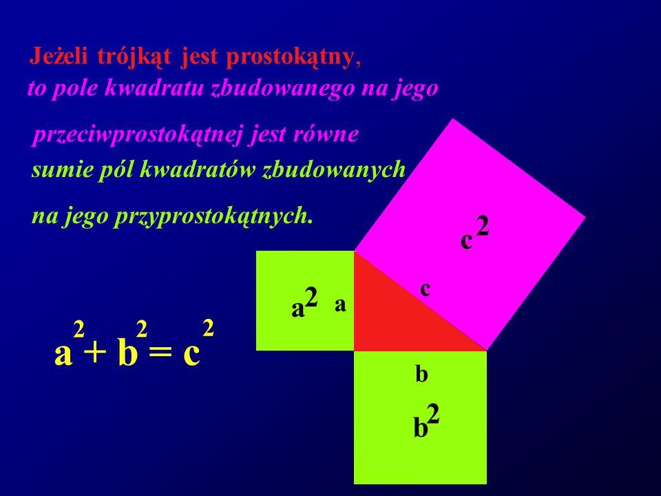 c 2 b 2 a 2 Jeżeli trójkąt jest prostokątny, to pole kwadratu zbudowanego na jego przeciwprostokątnej jest równe sumie pól kwadratów zbudowanych na je