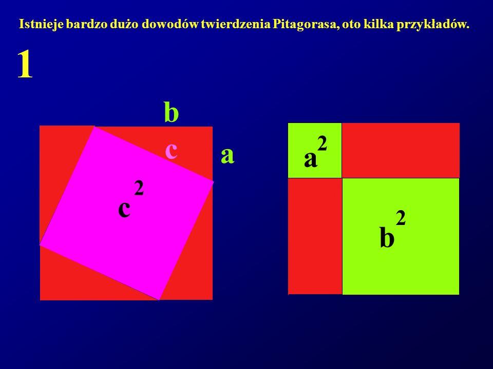 Istnieje bardzo dużo dowodów twierdzenia Pitagorasa, oto kilka przykładów. 1 c 2 b 2 a 2 a b c