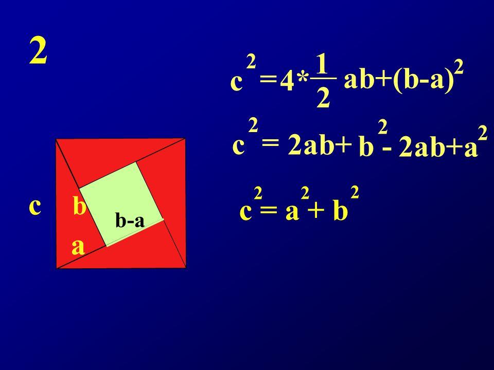 2 c a b b-a c 2 = 4* 1 2 ab+(b-a) 2 c 2 = 2ab+ b - 2 2ab+ a 2 c = a + b 2 2 2