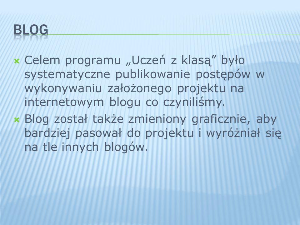 Celem programu Uczeń z klasą było systematyczne publikowanie postępów w wykonywaniu założonego projektu na internetowym blogu co czyniliśmy. Blog zost