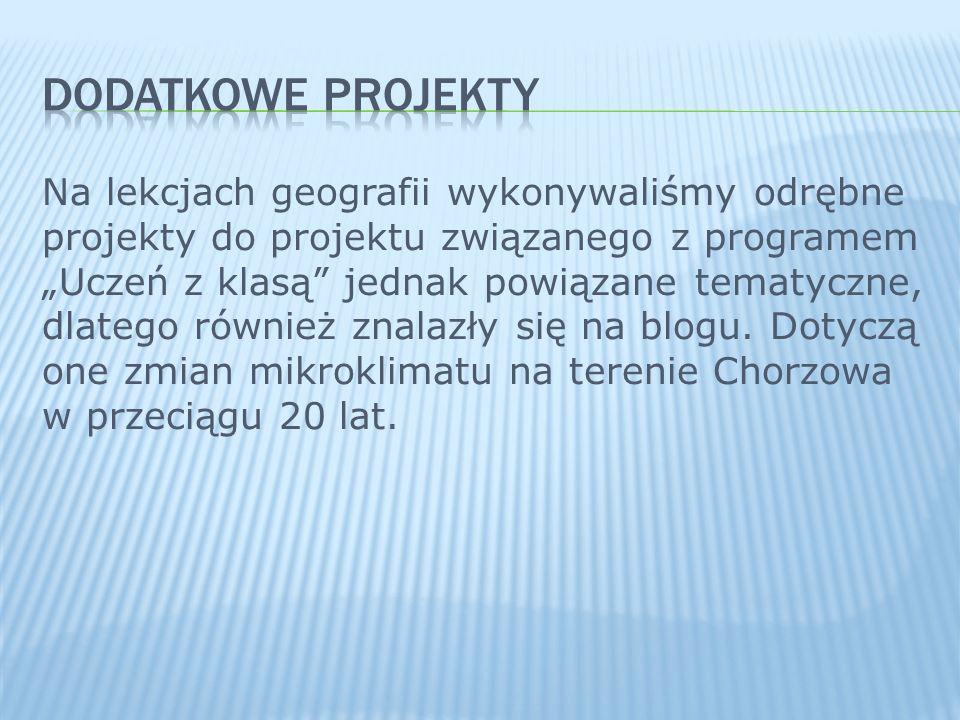 Na lekcjach geografii wykonywaliśmy odrębne projekty do projektu związanego z programem Uczeń z klasą jednak powiązane tematyczne, dlatego również zna