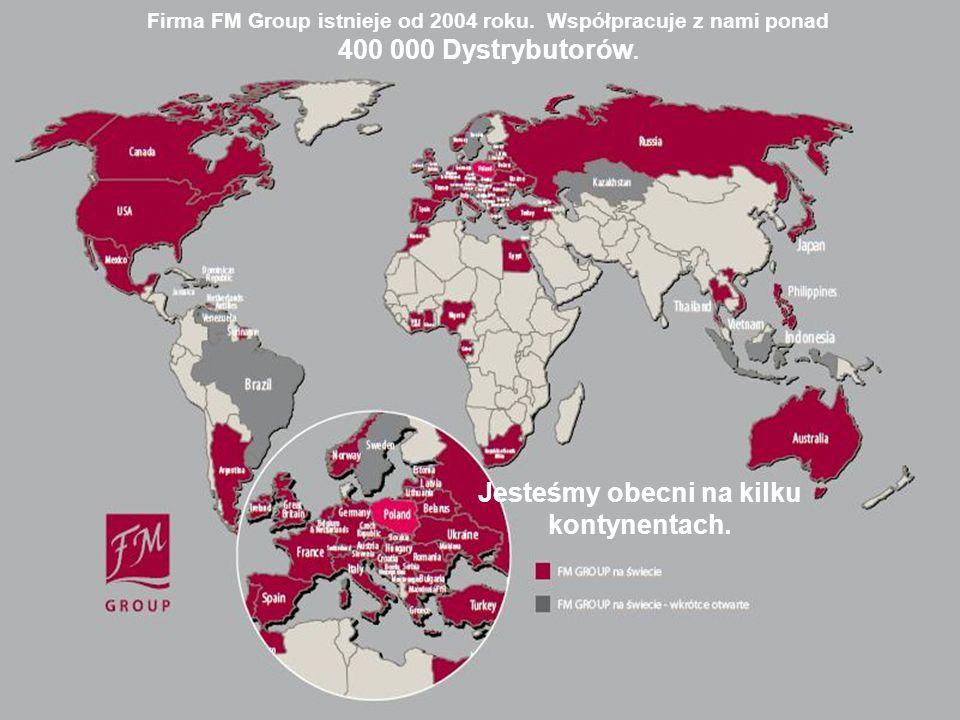 Firma FM Group istnieje od 2004 roku. Współpracuje z nami ponad 400 000 Dystrybutorów. Jesteśmy obecni na kilku kontynentach.