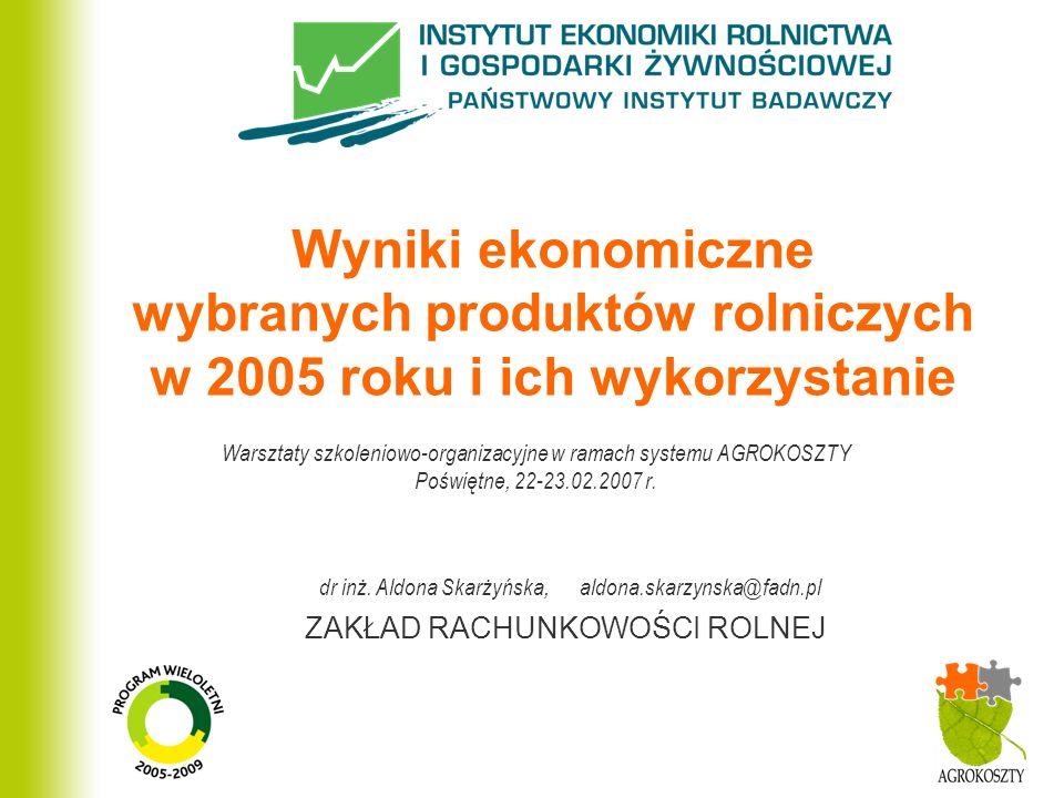 ZAKŁAD RACHUNKOWOŚCI ROLNEJ Wyniki ekonomiczne wybranych produktów rolniczych w 2005 roku i ich wykorzystanie Warsztaty szkoleniowo-organizacyjne w ra