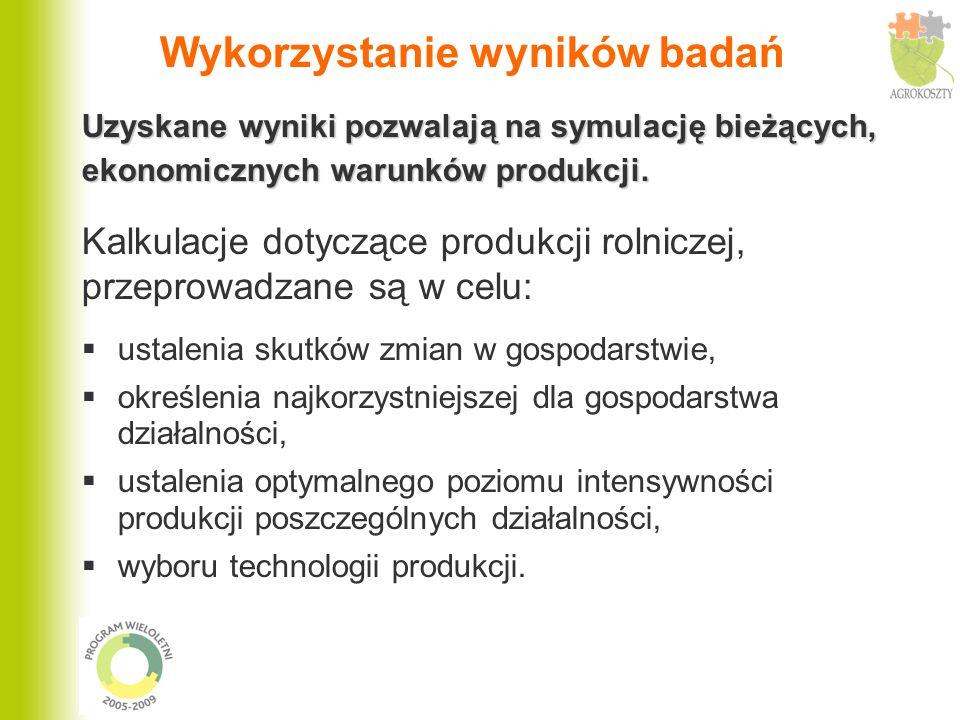 Wykorzystanie wyników badań Uzyskane wyniki pozwalają na symulację bieżących, ekonomicznych warunków produkcji. Kalkulacje dotyczące produkcji rolnicz