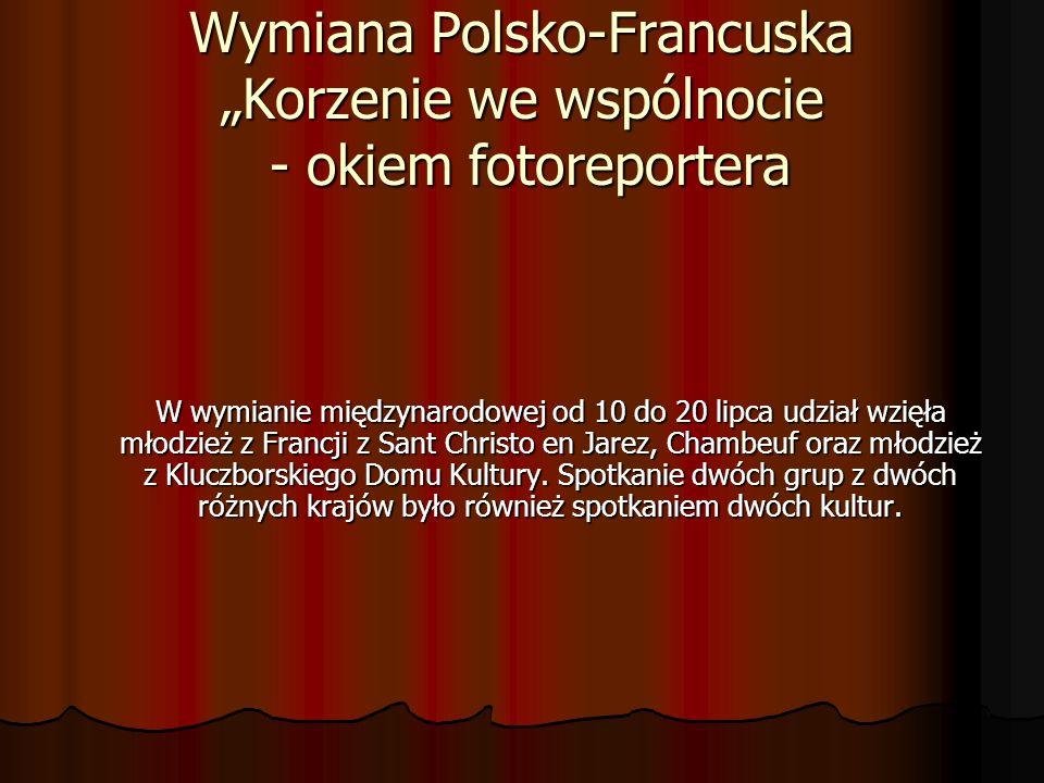 Wymiana Polsko-Francuska Korzenie we wspólnocie - okiem fotoreportera W wymianie międzynarodowej od 10 do 20 lipca udział wzięła młodzież z Francji z