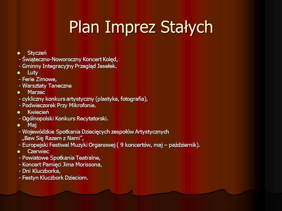 Plan Imprez Stałych Styczeń Styczeń - Świąteczno-Noworoczny Koncert Kolęd, - Świąteczno-Noworoczny Koncert Kolęd, - Gminny Integracyjny Przegląd Jaseł