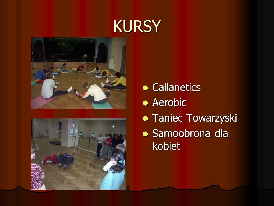 KURSY Callanetics Callanetics Aerobic Aerobic Taniec Towarzyski Taniec Towarzyski Samoobrona dla kobiet Samoobrona dla kobiet