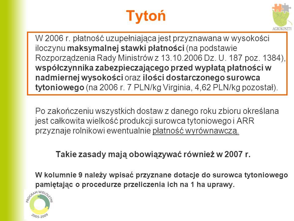 Tytoń W 2006 r. płatność uzupełniająca jest przyznawana w wysokości iloczynu maksymalnej stawki płatności (na podstawie Rozporządzenia Rady Ministrów
