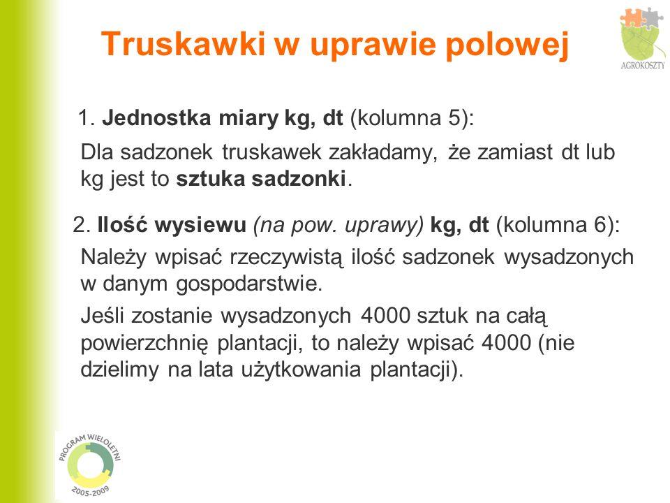 Truskawki w uprawie polowej 1. Jednostka miary kg, dt (kolumna 5): Dla sadzonek truskawek zakładamy, że zamiast dt lub kg jest to sztuka sadzonki. 2.