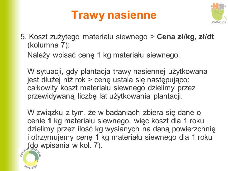 Trawy nasienne 5. Koszt zużytego materiału siewnego > Cena zł/kg, zł/dt (kolumna 7): Należy wpisać cenę 1 kg materiału siewnego. W sytuacji, gdy plant