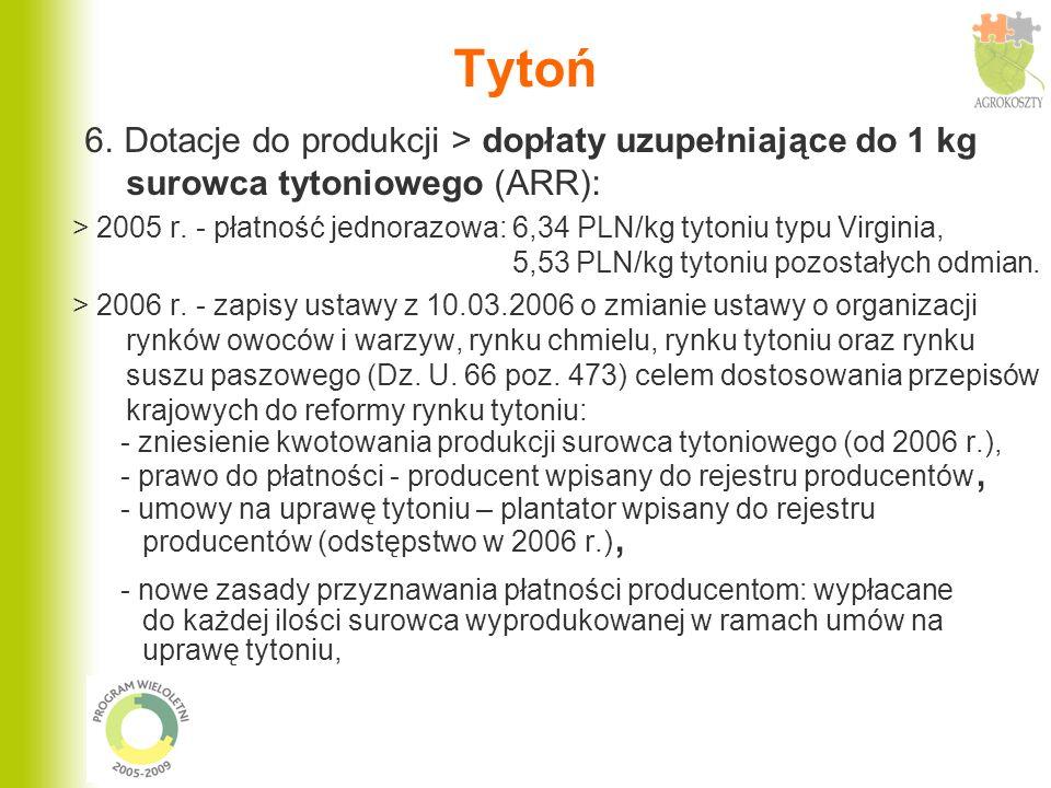 Tytoń 6. Dotacje do produkcji > dopłaty uzupełniające do 1 kg surowca tytoniowego (ARR): > 2005 r. - płatność jednorazowa: 6,34 PLN/kg tytoniu typu Vi