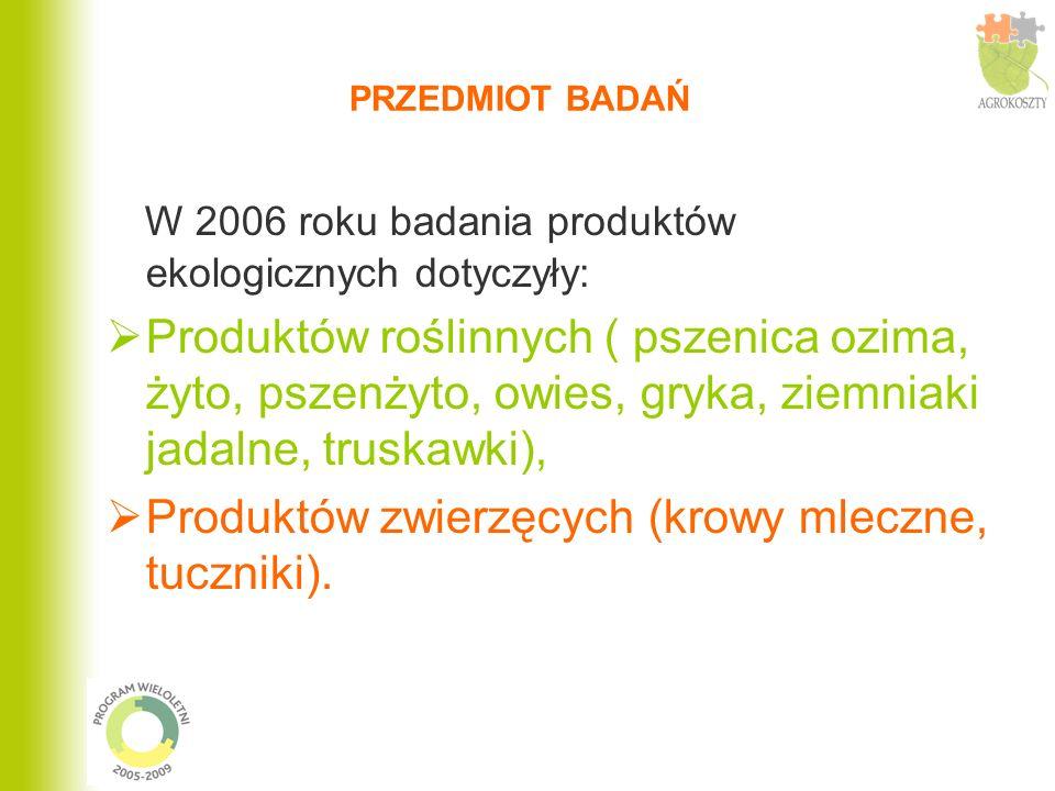 PRZEDMIOT BADAŃ W 2006 roku badania produktów ekologicznych dotyczyły: Produktów roślinnych ( pszenica ozima, żyto, pszenżyto, owies, gryka, ziemniaki