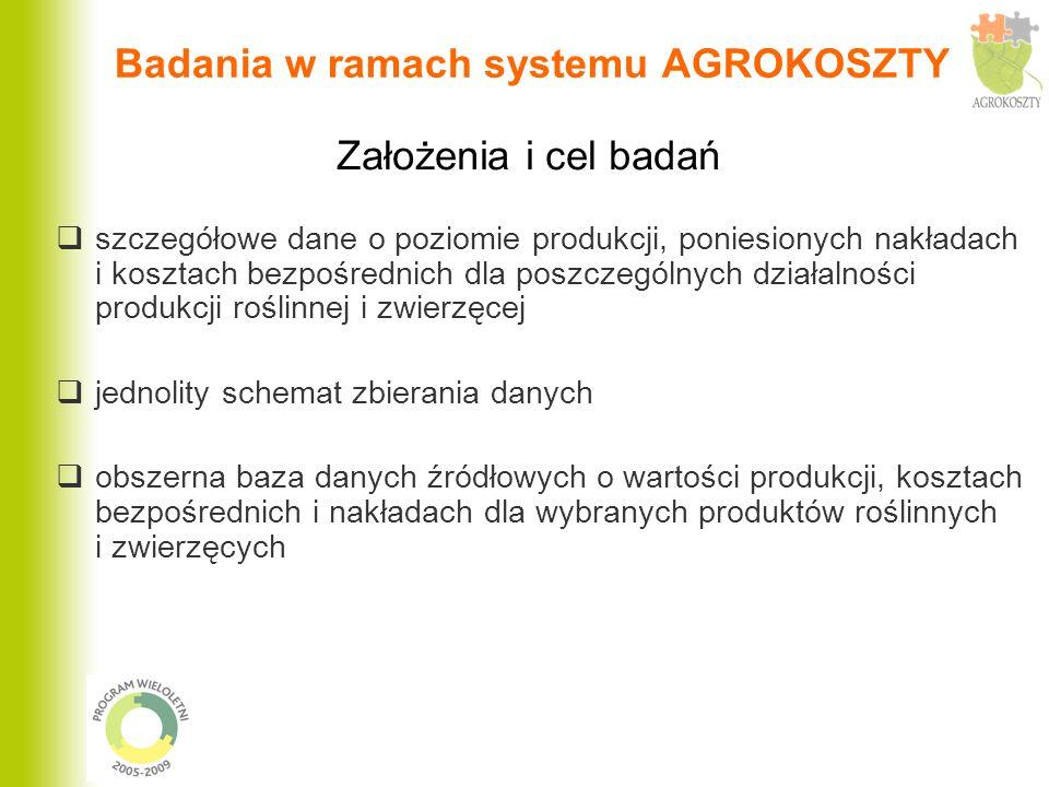 Badania w ramach systemu AGROKOSZTY szczegółowe dane o poziomie produkcji, poniesionych nakładach i kosztach bezpośrednich dla poszczególnych działaln