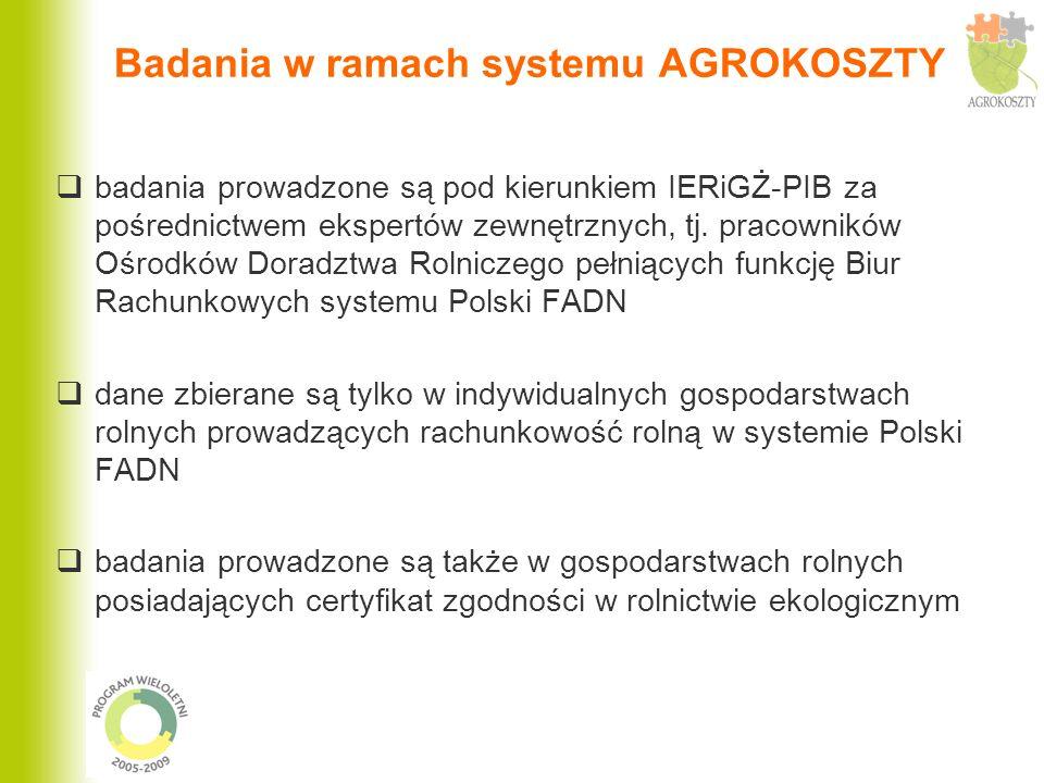 Badania w ramach systemu AGROKOSZTY badania prowadzone są pod kierunkiem IERiGŻ-PIB za pośrednictwem ekspertów zewnętrznych, tj. pracowników Ośrodków