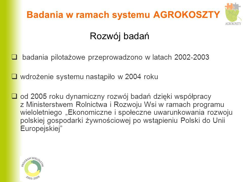 Badania w ramach systemu AGROKOSZTY badania pilotażowe przeprowadzono w latach 2002-2003 wdrożenie systemu nastąpiło w 2004 roku od 2005 roku dynamicz