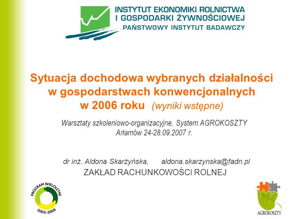 ZAKŁAD RACHUNKOWOŚCI ROLNEJ Sytuacja dochodowa wybranych działalności w gospodarstwach konwencjonalnych w 2006 roku (wyniki wstępne) Warsztaty szkoleniowo-organizacyjne, System AGROKOSZTY Arłamów 24-28.09.2007 r.