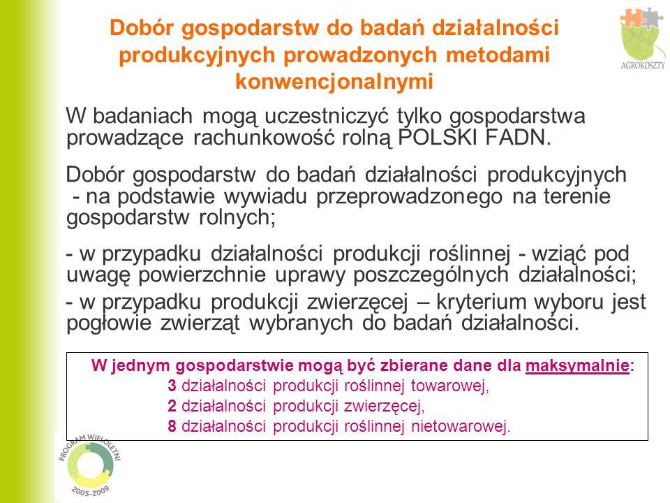 Dobór gospodarstw do badań działalności produkcyjnych prowadzonych metodami konwencjonalnymi W badaniach mogą uczestniczyć tylko gospodarstwa prowadzą