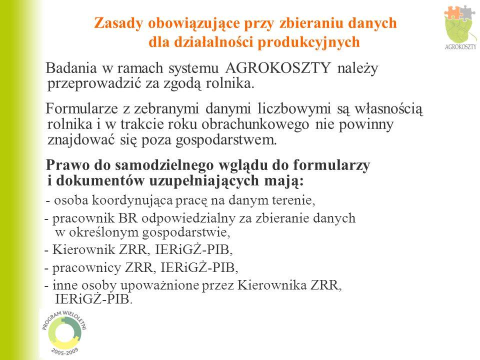 Zasady obowiązujące przy zbieraniu danych dla działalności produkcyjnych Badania w ramach systemu AGROKOSZTY należy przeprowadzić za zgodą rolnika. Fo