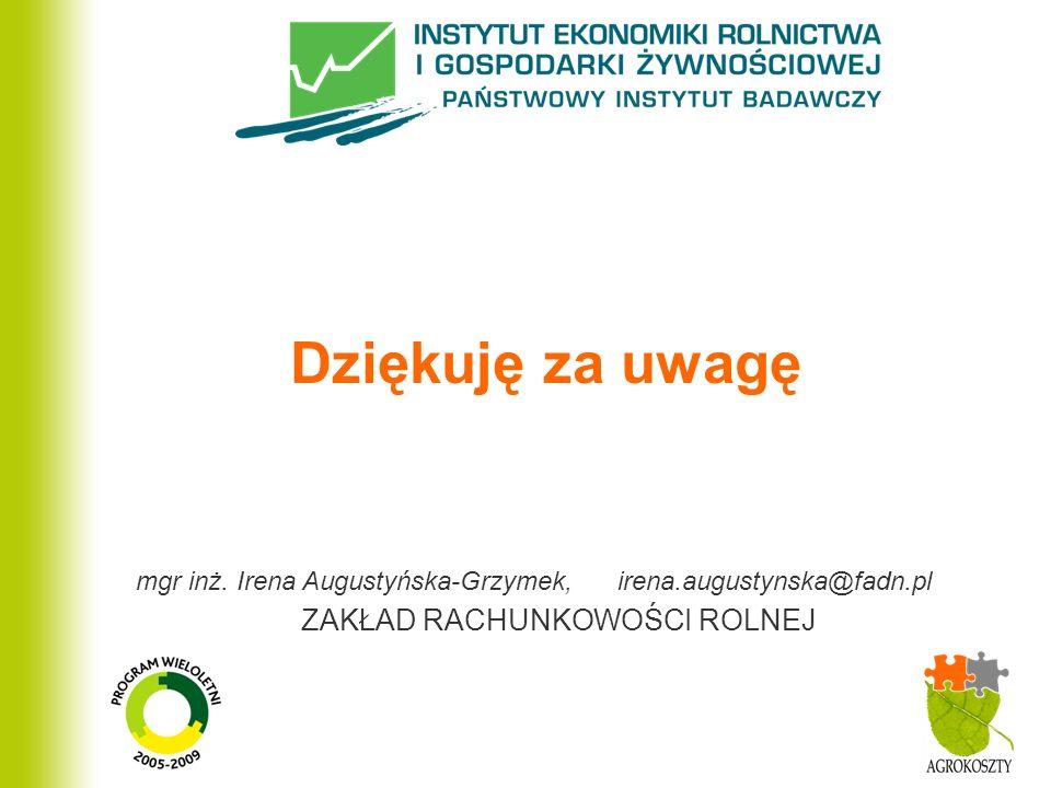 ZAKŁAD RACHUNKOWOŚCI ROLNEJ Dziękuję za uwagę mgr inż. Irena Augustyńska-Grzymek, irena.augustynska@fadn.pl