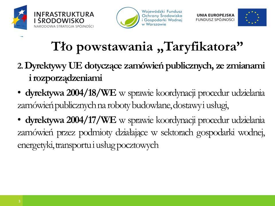 4 Tło powstawania Taryfikatora Polskie przepisy dotyczące zamówień publicznych oraz wytyczne dla podmiotów realizujących projekty ze środków unijnych : ustawa z 29 stycznia 2004 r.