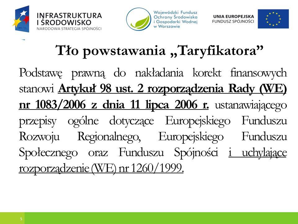 6 Tło powstawania Taryfikatora Na mocy tego rozporządzenia Państwo członkowskie dokonuje korekt finansowych wymaganych w związku z pojedynczymi lub systemowymi nieprawidłowościami stwierdzonymi w operacjach lub programach operacyjnych.