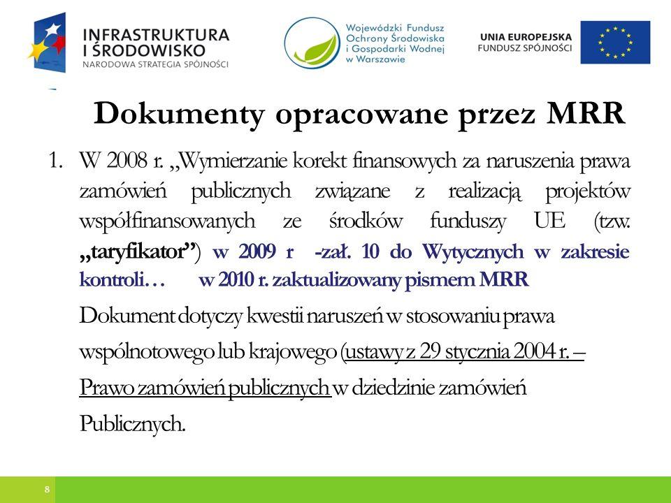 9 Sposób korygowania nieprawidłowości zidentyfikowanych w ramach wdrażania POIiŚ opisany jest w Zaleceniach w zakresie sposobu korygowania wydatków nieprawidłowo poniesionych w ramach Programu Operacyjnego Infrastruktura i Środowisko – MRR 29.01.2010