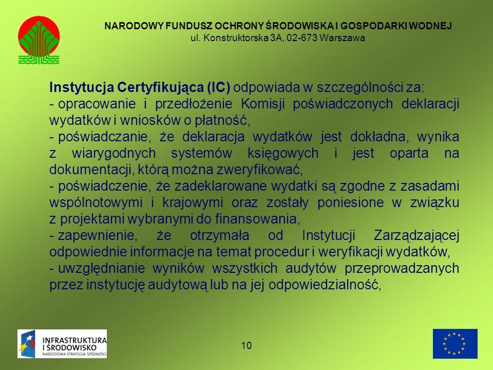 10 NARODOWY FUNDUSZ OCHRONY ŚRODOWISKA I GOSPODARKI WODNEJ ul. Konstruktorska 3A, 02-673 Warszawa Instytucja Certyfikująca (IC) odpowiada w szczególno