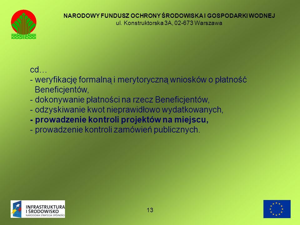 13 NARODOWY FUNDUSZ OCHRONY ŚRODOWISKA I GOSPODARKI WODNEJ ul. Konstruktorska 3A, 02-673 Warszawa cd… - weryfikację formalną i merytoryczną wniosków o