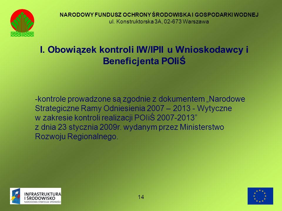 14 NARODOWY FUNDUSZ OCHRONY ŚRODOWISKA I GOSPODARKI WODNEJ ul. Konstruktorska 3A, 02-673 Warszawa I. Obowiązek kontroli IW/IPII u Wnioskodawcy i Benef