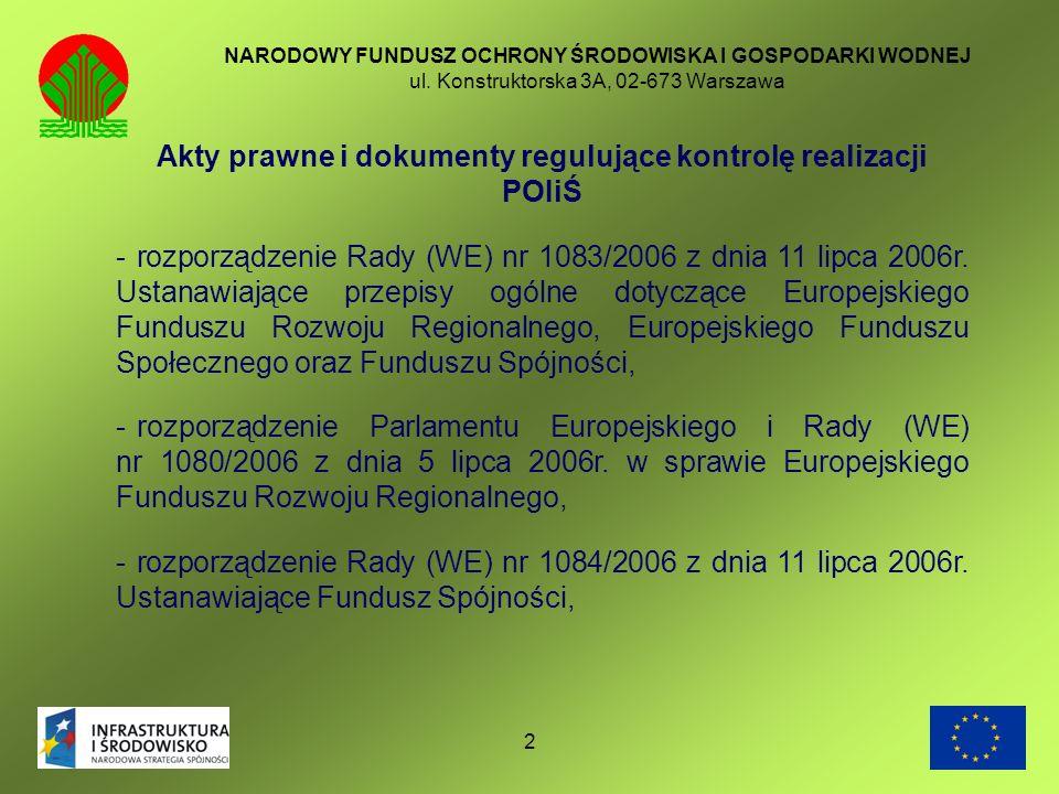 2 NARODOWY FUNDUSZ OCHRONY ŚRODOWISKA I GOSPODARKI WODNEJ ul. Konstruktorska 3A, 02-673 Warszawa Akty prawne i dokumenty regulujące kontrolę realizacj
