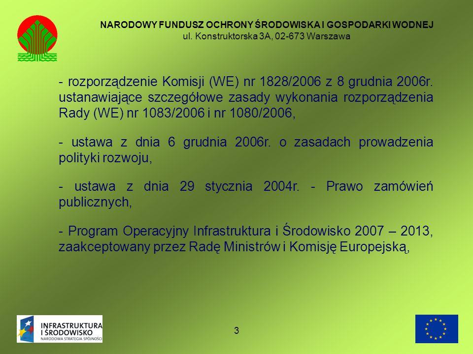 3 NARODOWY FUNDUSZ OCHRONY ŚRODOWISKA I GOSPODARKI WODNEJ ul. Konstruktorska 3A, 02-673 Warszawa - rozporządzenie Komisji (WE) nr 1828/2006 z 8 grudni