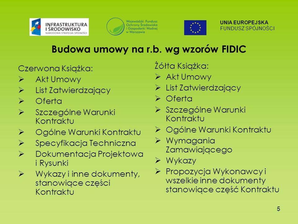 UNIA EUROPEJSKA FUNDUSZ SPÓJNOŚCI 5 Budowa umowy na r.b. wg wzorów FIDIC Czerwona Książka: Akt Umowy List Zatwierdzający Oferta Szczególne Warunki Kon